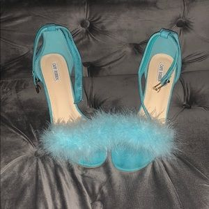 Exclusive handmade ostrich feathered shoes